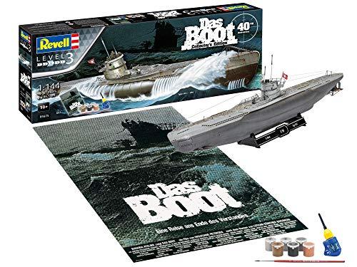 Revell 05675-Set regalo Set DAS BOOT-40th Anniversary, con accessori di base, nave 1:144, 46,5 cm Kit per modelli, Colore Non Laccato, 05675