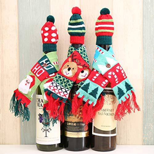 Meatyhjk Weinflaschenabdeckungen für Weinflaschen, Schal, Taschen, Urlaub, Esszimmer, Dekoration, festliche Dekoration für Küche, 3 Stück