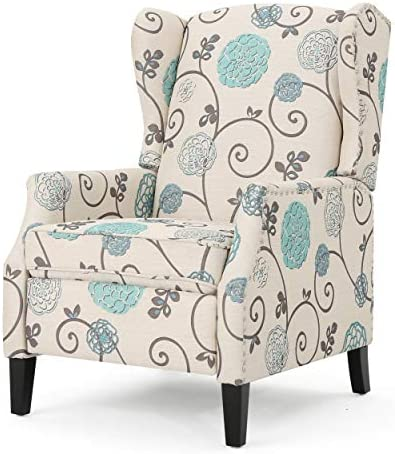 Best Christopher Knight Home Wescott Traditional Fabric Recliner, White And Blue Floral Pattered