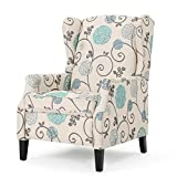 Westeros Traditional Wingback Fabric Recliner Chair (White & Blue Floral)