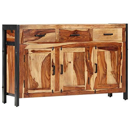 vidaXL Massivholz Sideboard 120x35x75cm Kommode Schrank Anrichte Beistellschrank Mehrzweckschrank 3 Türe 3 Schubladen Handgefertigt Palisander Holz