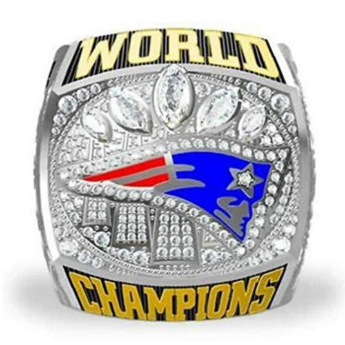XKJFZ Super Bowl Rugby Patriot-Meisterschaft-Ring Footballsouvenir Ring Einzigartige uing romantische Geschenk für Männer Modeschmuck