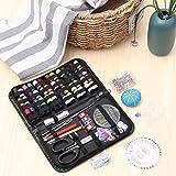 ESSORT Kit de costura de cuero mini caja de costura accesorios DIY 271 piezas para adultos, principiantes, regalo a mano, máquina de coser, viajes