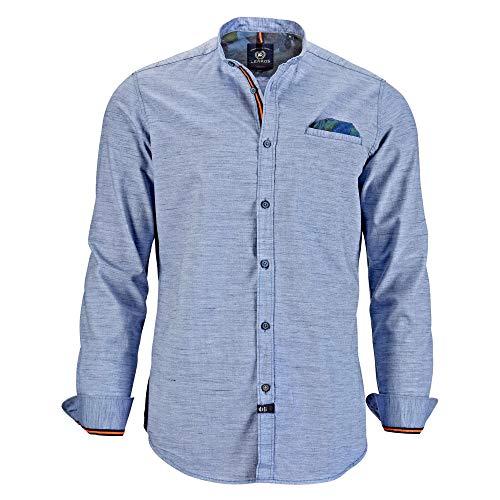 LERROS Men 2981933 448 Herren Hemd mit Stehkragen und Brusttasche meliert Baumwolle, Groesse 50/52, hellblau/meliert