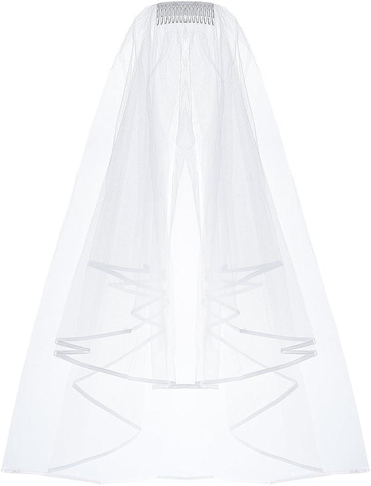 Elegantday Bridal Wedding Veil White Double Ribbon Edge Center Cascade with Comb Bijini Veil