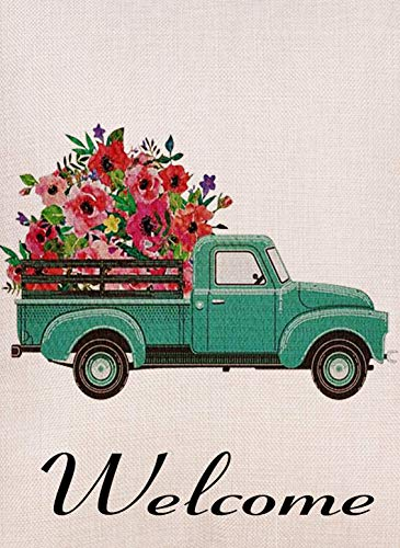 Home Decorative Vintage Floral Truck Garden Flag Double Sided, Burlap Flower Welcome Quotes Old Farm Pickup House Yard Decoration, Rustic Seasonal Outdoor Décor Flag 12 x 18 Spring Summer