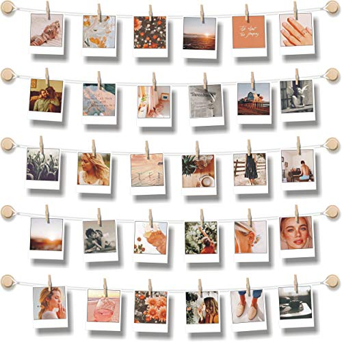 BIZYAC Hanging Photo Display Room Wall Decor - Sculptural Picture Frames Collage - 5 Strings with 30 Clips - 3M Self Adhesive Hooks - No Holes Drilling - 30 x 30 inch