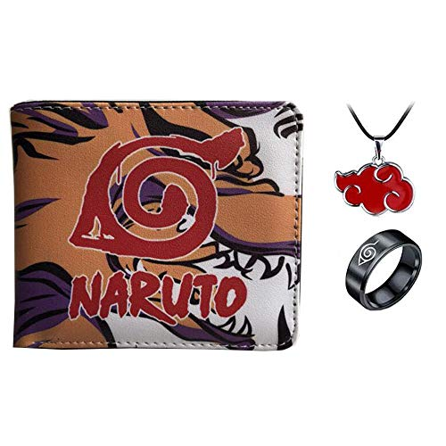 Hombres Niño Anime Naruto Cartera de Cuero de dibujos animados Corto monedero masculino mujeres cartera titular de la tarjeta de crédito con collar anillo