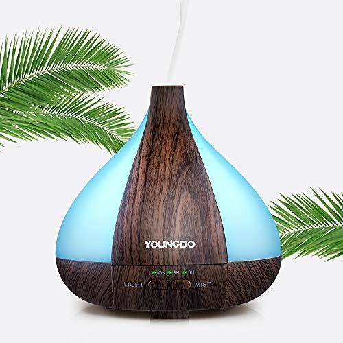 Humidificador Aromaterapia Ultrasónico 220ml, YOUNGDO Difusor Aceites Esenciales 7 Colores LED Difusor Aroma de Vapor Frío con Función de Temporización y Auto Apagado para Bebé Yoga Spa