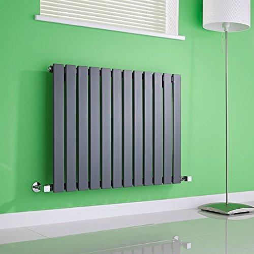 Hudson Reed Radiador de Diseño Moderno Horizontal Delta - Radiador con Acabado Antracita - Paneles Planos - 635 x 840mm - 751W - Calefacción