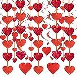 SHYOSUCCE Decoración de San Vatentín, 12 Guirnalda de Corazón 18 Remolinos de Corazón, pancarta de corazón para San...