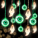 30 LED Halloween Eyeball String Lights and 10 LED Ghost Lights, Scary Halloween Decorations Outdoor Indoor for Home, Party, Yard, Garden Horror Decor
