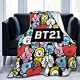 Xihe Fashion BTS Army BT-21 Idol Kpop (2) Couch Blanket Soft Plush Throw Blanket Lightweight Gift Bedroom for Fans 50'x40'