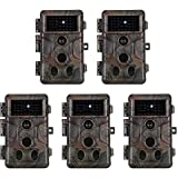 5-Pack Game Trail Deer Cameras 24MP 2304x1296P H.264 Video with 100Ft Night Vision No Glow 0.1S Trigger Time Motion Activated IP66 Waterproof for Outdoor Wildlife Hunting & Home Security Surveillance