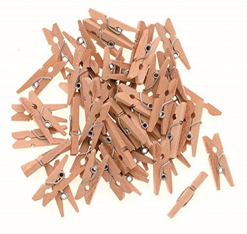 Glorex 6 2200 651 - Wäscheklammern aus unlackiertem Birkenholz, ca. 25 mm groß, 45 Stück, ideal zum Basteln und Dekorieren, für Fotoleinen, Tischkärtchen, Grußkarten