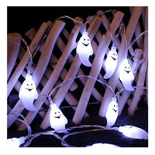 YHWD LED Luces de Halloween,Lámpara Fantasma de decoración Halloween,Accesorios Fiesta Halloween,Bateria cargada,Adecuado para Halloween, Carnaval, Navidad, Fiestas de cumpleaños,Blanco,5m