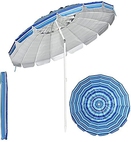 GYMAX Ombrellone da Esterno con 16 Stecche, Ombrellone Inclinabile e Portatile con Copertura Impermeabile e Resistente ai Raggi Solari UV, Ideale per Spiaggia e Giardino, Diametro 2,45 M (Azzurro)