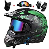DCLINA Motocross Helmet Set, with Goggles Gloves Mask, Green/Black Bluetooth Off Road ATV Motorcycle Crash Helmet Motorbike Dirt Bike Full Face Helmet, Protective Gear for Adult, DOT Certified