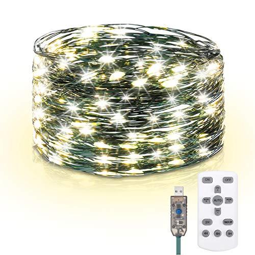 Elfeland Lichterkette 15m(3x 5M) 150er LED Fairy Lights mit 8 Lichtmodi Timer Fernbedienung kupferdraht USB-Port, IP65 Wasserdicht Außenlichterkette für Außen Innen Garten Bäume Weihnachten Warmweiß