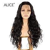 Alice Perruque en dentelle frontale 55,9 cm de long brun ondulé synthétiques pré coupée avec ligne de cheveux naturels et cheveux de bébé pour femme, marron foncé