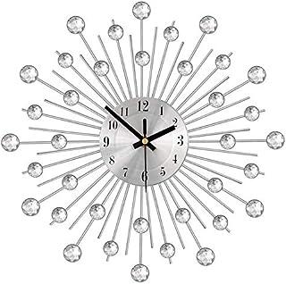 Phonleya Reloj de Pared Diamante Grande con Cuentas de Cristal Jeweled Sunburst Silver Silent Metal Art Reloj Decoración p...