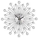 SOOTOP Reloj de Pared de Diamantes de Cristal, decoración de Reloj de Diamantes de Plata de diseño Moderno y Redondo, Reloj de Pared 3D de Metal Art Dial para Sala de Estar Moderna