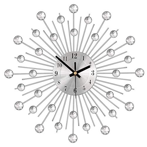 Verdelife Kristall Wanduhr, Diamant Zifferblatt Große Uhren Für Wohnzimmer Schlafzimmer, Silent Non Ticking, Quarz Batteriebetriebene Silber Wandkunst