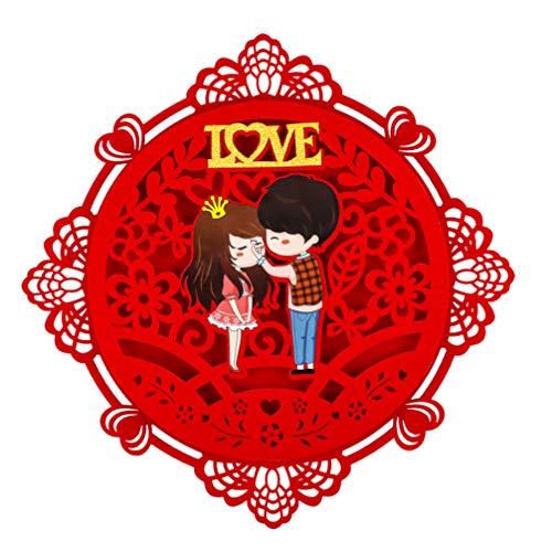KESYOO Janela de Casamento Adere Casal Amor Adesivo de Porta 3D Adesivos de Parede Vermelhos Chuveiro Nupcial Materiais de Decoração de Festa