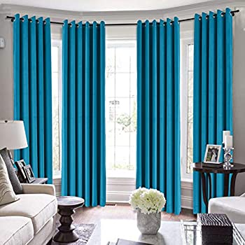 TWOPAGES Loft Curtains 144 Inch Long Velvet for Loft Thermal Insulated Curtains for Living Room/Bedroom Blackout Window Drape  MJ11-99 Blue 1 Panel 50Wx144L