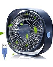 SMARTDEVIL USB-ventilator,USB-bureauventilator,kleine persoonlijke USB-ventilator,3 snelheden Desk Desktop-tafel Koelventilator met USB oplaadbaar,sterke wind,stille werking,voor thuiskantoor(blauw)