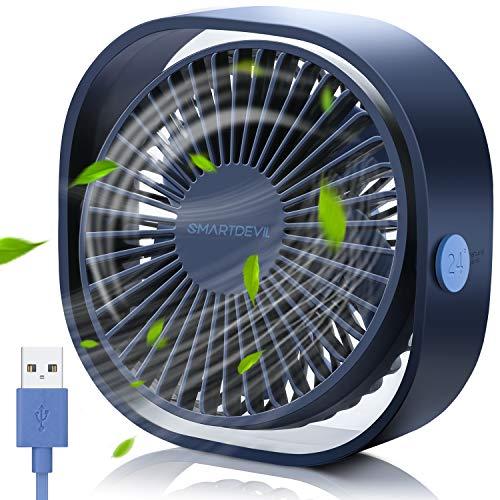 SmartDevil Ventilatore USB, Mini USB Ventilatore, Ventilatore Silenzioso, Ventilatore Portatile USB, per Scrivania, Auto,Casa Ufficio,Viaggiare. USB Alimentato(Blu)