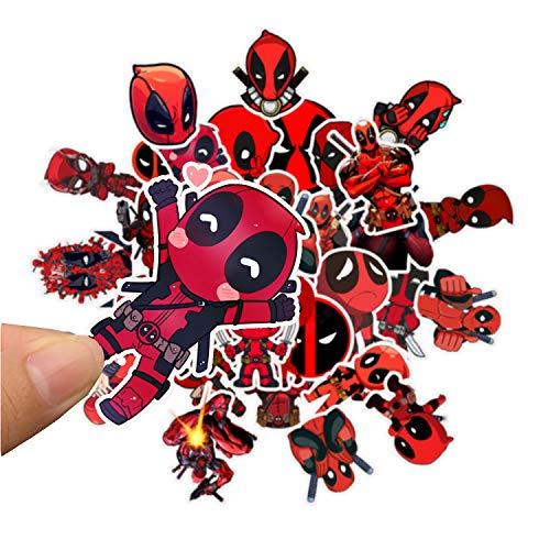 Qemsele Aufkleber für Kinder Kleinkinder, 100 Stück Kinderaufkleber Superheld Aufkleber Sticker für Erwachsene Mädchen Jungen Laptop-Skateboard-Gepäck-Aufkleber Graffiti-Patches-Aufkleber (Deadpool)
