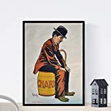Nacnic Poster Vintage. Anuncio Vintage de pelicula Charles Chapplin. Tamaño A4