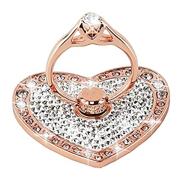 Cell Phone Finger Ring Holder with Blingy Crystals, Nsiucion Heart Love Phone Ring Kickstand [Washable] [Removable], 360°Rotation Zinc Alloy Ring Grip Stand for All Phones (Rose Gold)