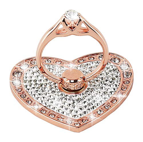 Cell Phone Finger Ring Holder with Blingy Crystals, Nsiucion Heart Love Phone Ring Kickstand [Washable] [Removable], 360