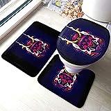 Samurai Comfort Collections - Juego de alfombrillas de baño para pedestal, alfombrilla de baño, alfombrilla de baño, antideslizante, alfombrilla de baño, 3 piezas