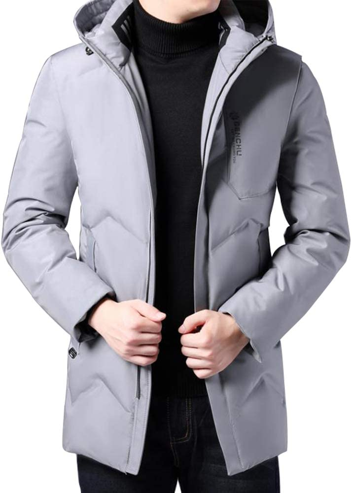 Down jacket Winter Middle-Aged Men's, Medium Long Hooded Thicken Winter Clothing, Padding: 90% White Duck Down (Black, Gray, Light Blue, Dark Blue)