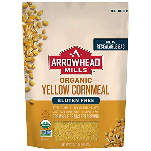 Arrowhead Mills Organic Yellow Corn Meal, Gluten Free, 22 Ounce Bag (Pack of 6)