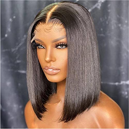 Short Bob Wigs Human Hair for Black Women 4x4 Glueless Straight Lace Front Closure Wig Human Hair Pre plucked with Baby Hair Middle Part 12 Inch Brazilian Remy Hair Natural Color