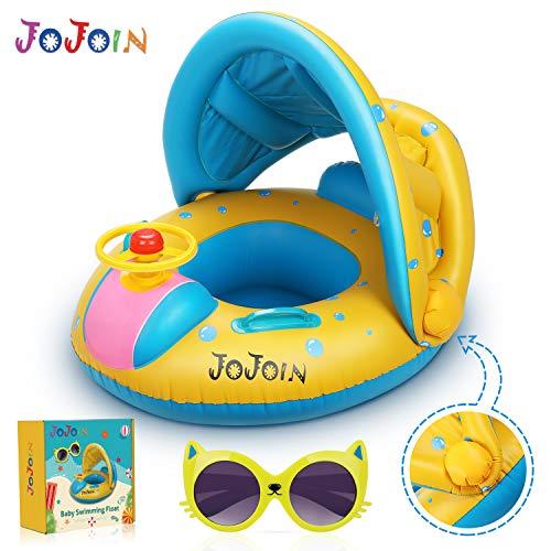 Jojoin Flotador para Bebé, Inflable Flotador con Asiento, Anillo Flotador para Bebés (3-36 Meses), con Gafas de Sol, PVC no Tóxico y Duradero, Visera Solar Ajustable...
