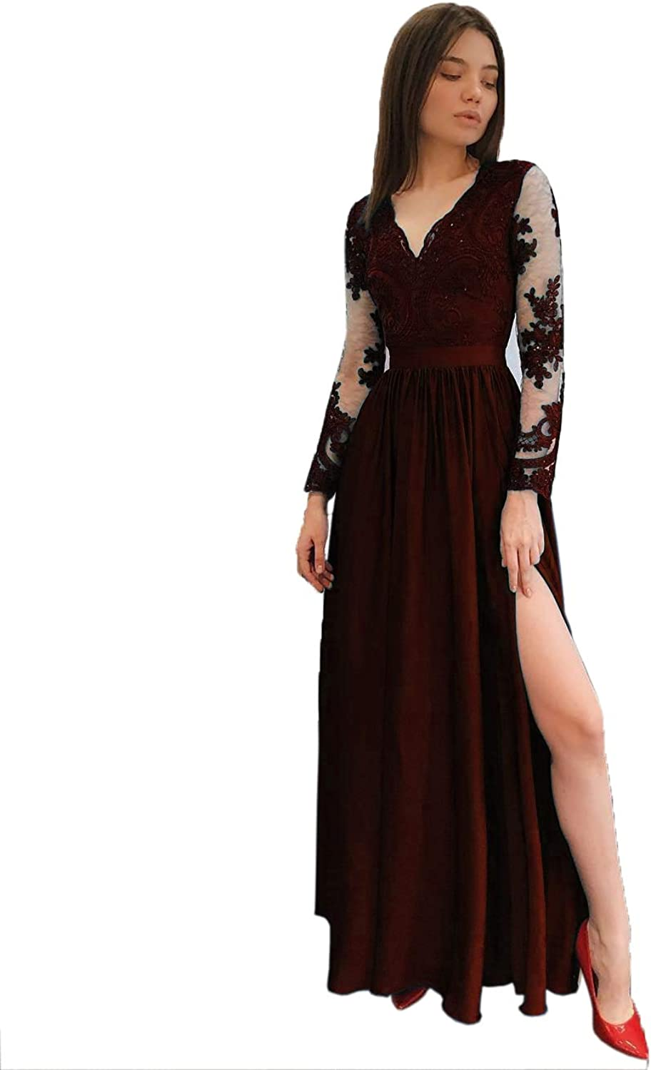 ASBridal Prom Dresses Long Lace Party Dress Long Sleeve Formal Evening Gowns V Neck