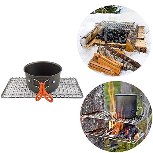 awhao Einfache 304 Edelstahl Grill Mesh Grill, Tragbare Camping Grill Compact Mini Edelstahl Lagerfeuer Holzkohle Gas BBQ Grill Rack, Outdoor Camping Pot Rack Expedient