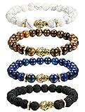 sailimue 3-4PCS Bracelet Boule Pierres Naturelles pour Homme Femme Bouddha Bracelet Manchette d'Energie Pierre Elastique 8MM 4pcs