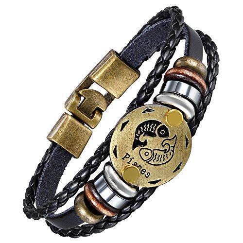 Aroncent Herren Damen Armband, Geflochten Wicekl Lederarmband Armreif Armschmuck mit Fische Tierzeichen Sternbild Anhänger, Schwarz