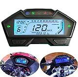 CHUDAN Universal 2/4 Zylinder Motorrad Tachometer Drehzahlmesser-Kraftstoffanzeige, LCD Digital...