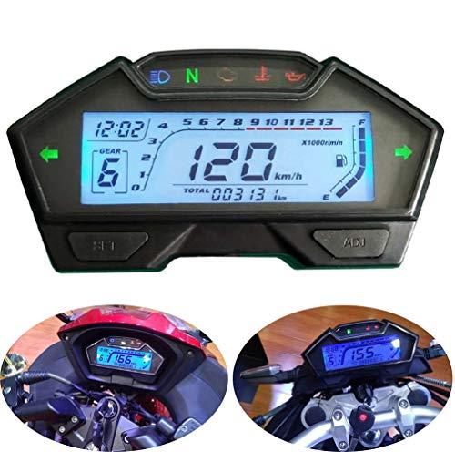 CHUDAN Universal 2/4 Zylinder Motorrad Tachometer Drehzahlmesser-Kraftstoffanzeige, LCD Digital Instrument Geschwindigkeitsmesser 199 Kph Mph 3000RPM DIY Tacho