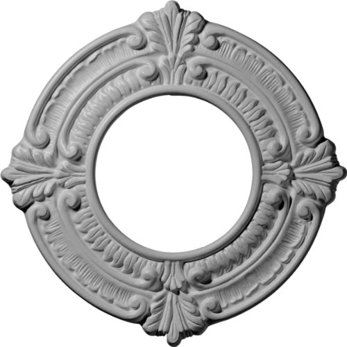 """Ekena Millwork CM09BN Benson Ceiling Medallion, 9""""OD x 4 1/8""""ID x 5/8""""P (Fits Canopies up to 4 1/8""""), Primed"""