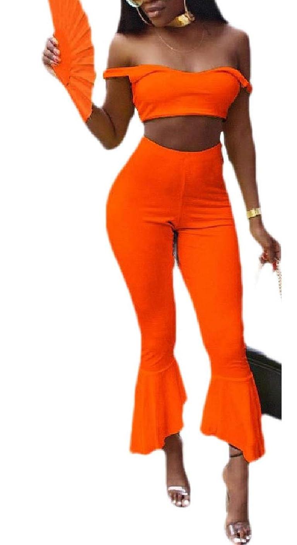 解き明かすペグ記憶Women Two Piece Outfits Solid Spaghetti Strap Crop Top Flare Pants Set