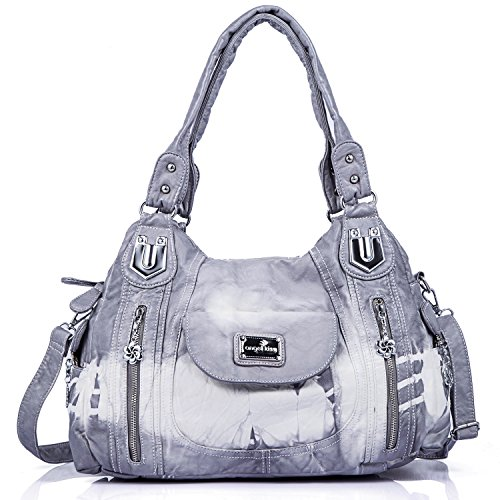 angel kiss Damen Handtasche Schultertasche PU Leder Top Griff Satchel Tote Bag, Ak812-2z Grey, Large