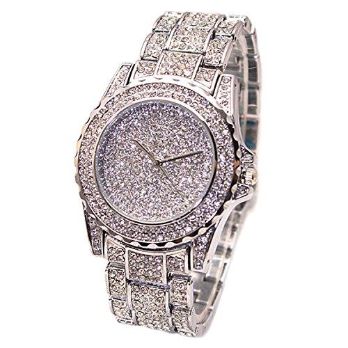 bodhi2000 Las mujeres de plata banda de acero inoxidable reloj de pulsera Casual vestido pulsera Rhinestone Relojes